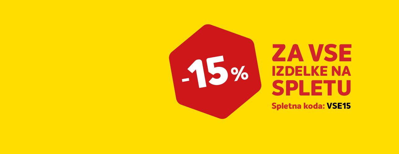 VSE -15 % <br/>S SPLETNO KODO